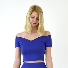 Royal blue off shoulder crop top