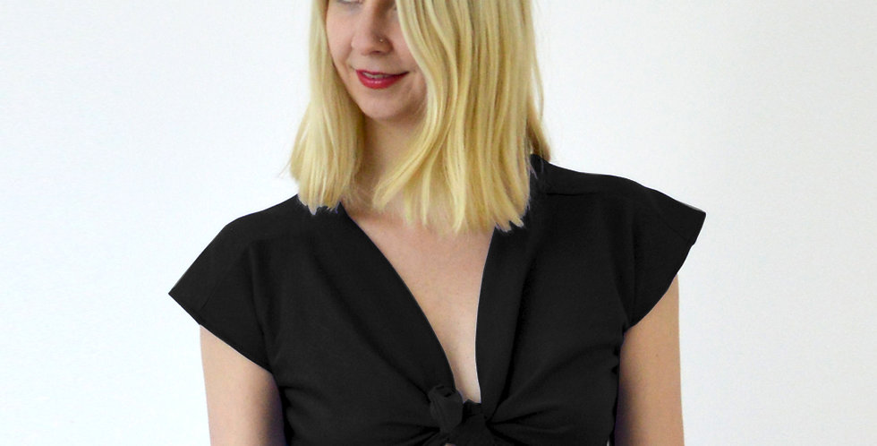 Ava Beach Wrap Up Crop Top in Black front view