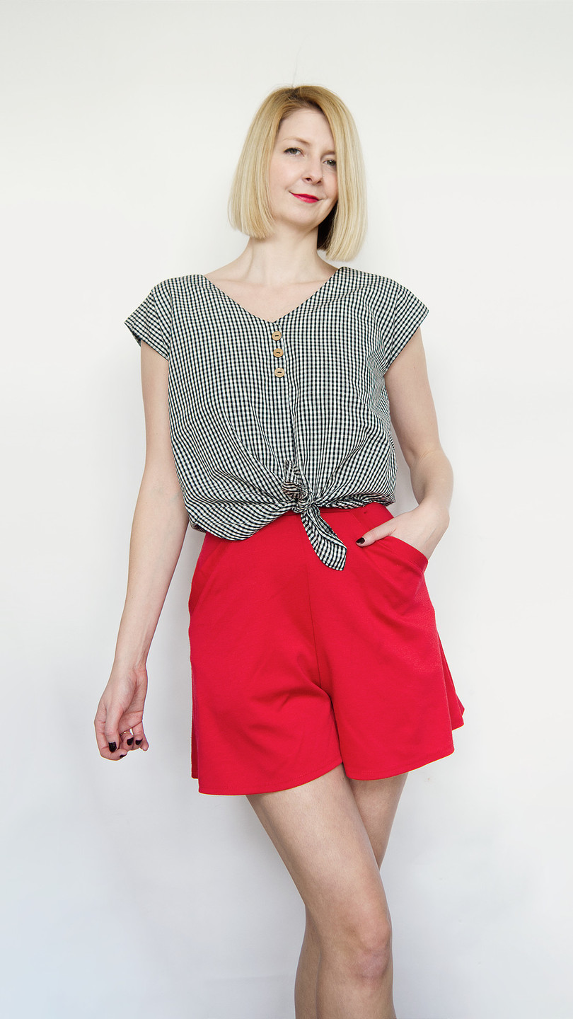 Lana tie front blouse gingham