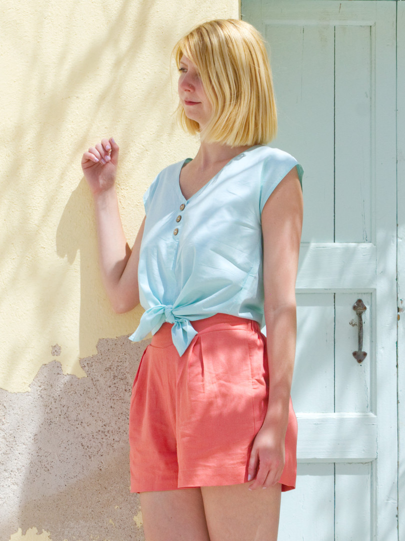 LANA BLOUSE AND CORAL SHORTS DOORWAY INS