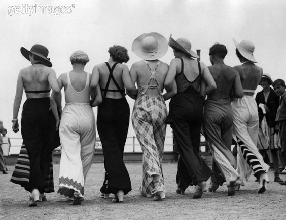1930s ladies in their beach pyjamas