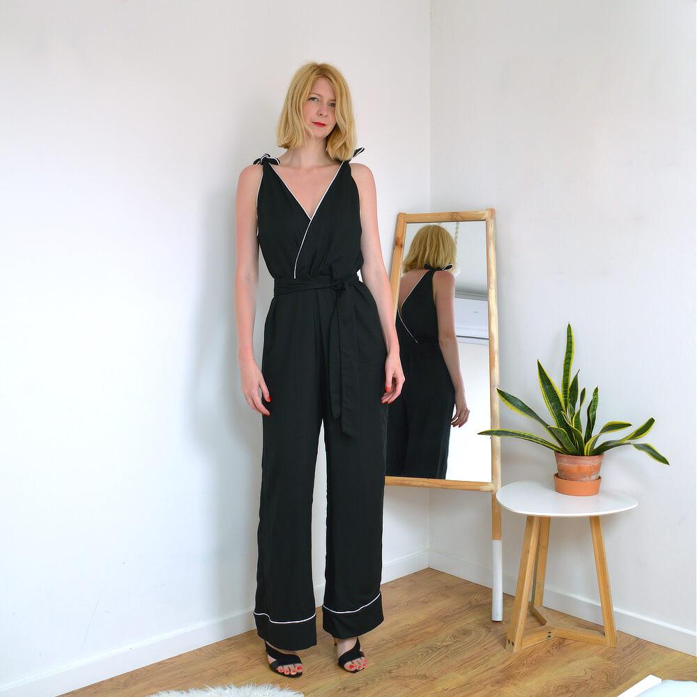 Marlene black wide leg jumpsuit