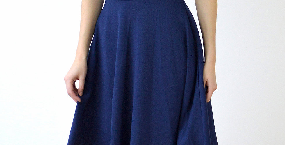 Flared Midi Skater Skirt with High Waist in Navy front view