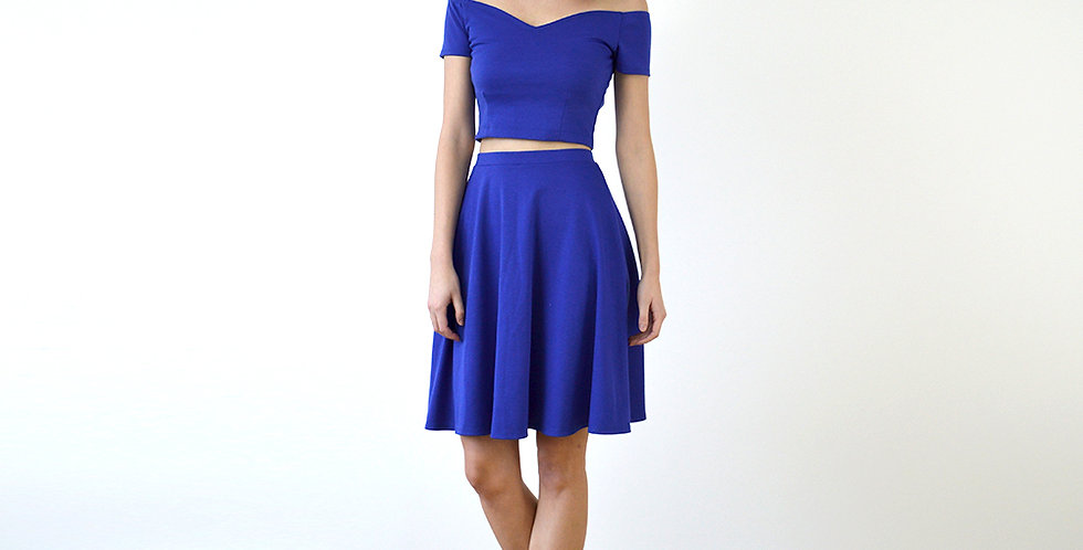 Coco Vintage Style Two Piece in Royal Blue full front view
