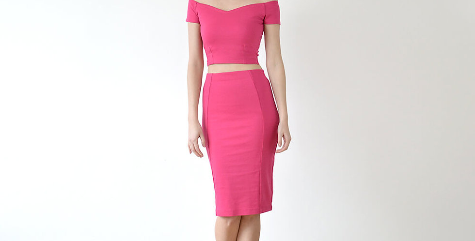 Audrey Crop Top and Pencil Skirt Set in Hot Pink full front view