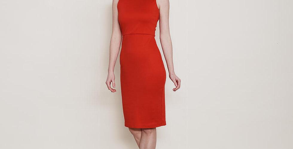 Marilyn Scoop Back Bodycon Dress in Red
