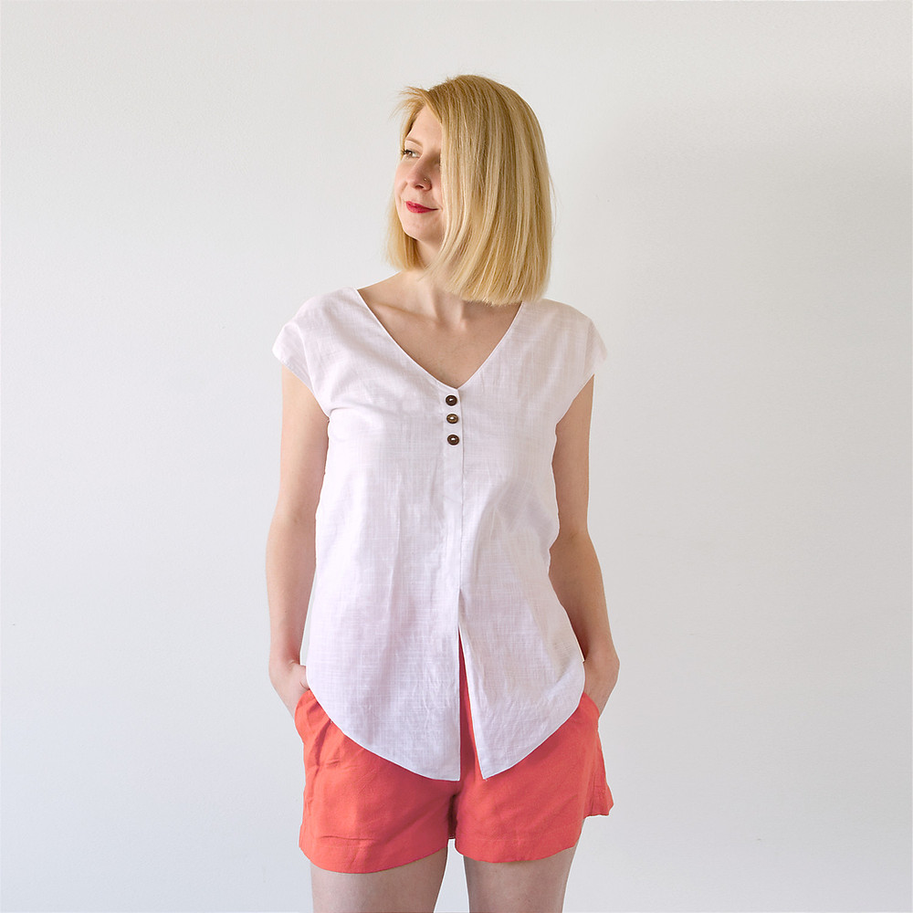 Front view of Lana blouse worn loosely