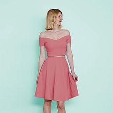 Pastel pink two piece off shoulder dress