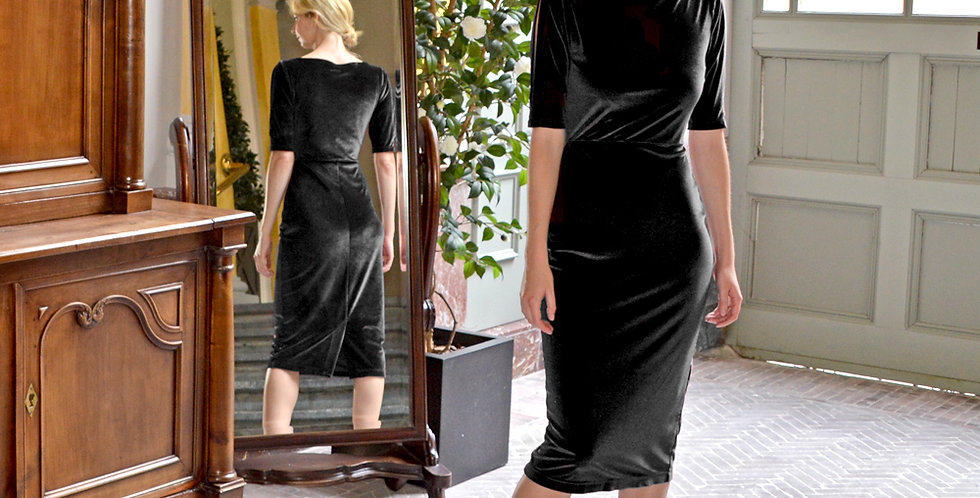 Lombard Black Velvet Long Party Dress full front view