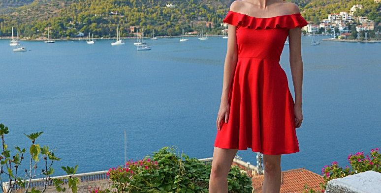 Ginger Red Off Shoulder Skater Skirt Dress full front view