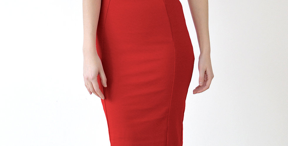 Women's Sexy High Waisted Midi Pencil Skirt in Red front view