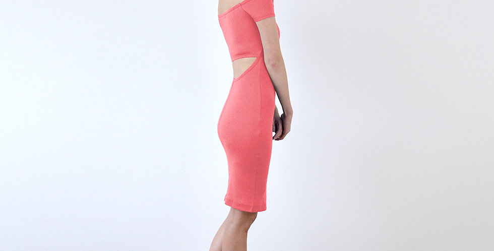 Bardot Style Strapless Cut Out Back Dress in Coral Pink full side view
