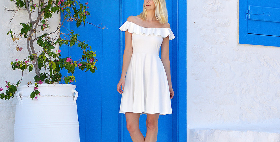 Ginger Vintage Style White Summer Dress full front view