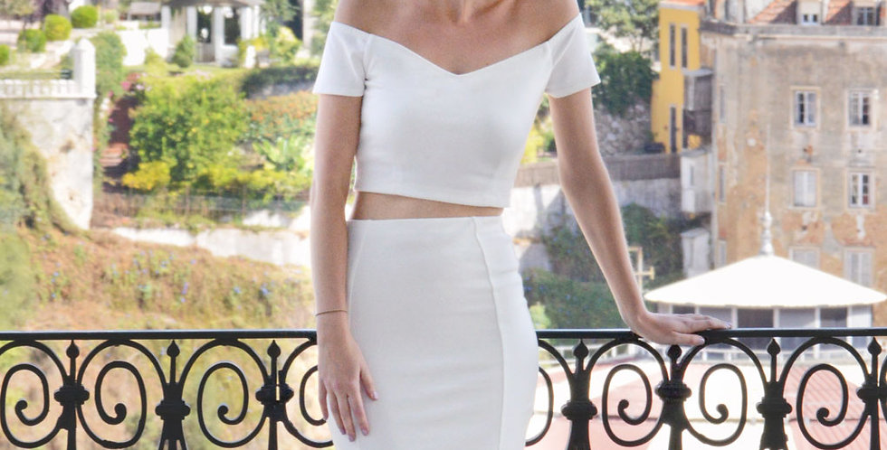 Audrey Off Shoulder Crop Top Set in White front view