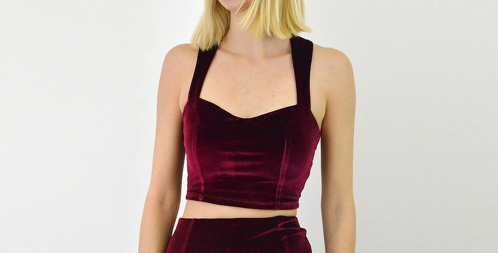Velvet Crop Top with Straps in Red