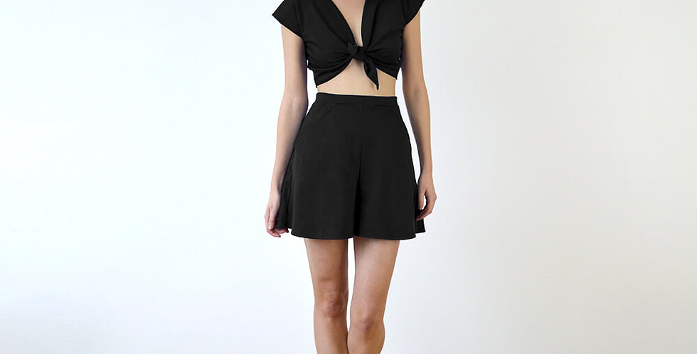 Ava High Waist Culottes and Crop Top Set Black full front view