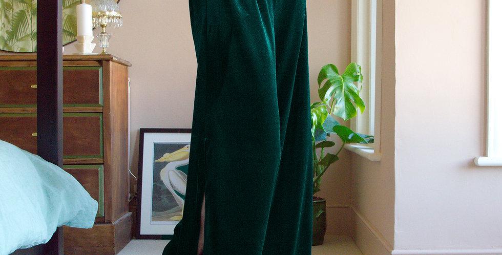 HEPBURN | Wide Leg Green Velvet Trousers