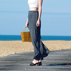 Spot print high waisted summer trousers