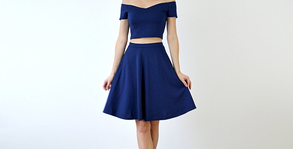 Coco Crop Top with Skater Skirt Set in Navy full front view