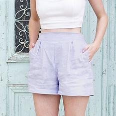 Lilac linen high waist shorts