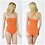 Una Women's Elegant Orange Bodysuit with Crossover Spaghetti Straps back and front view