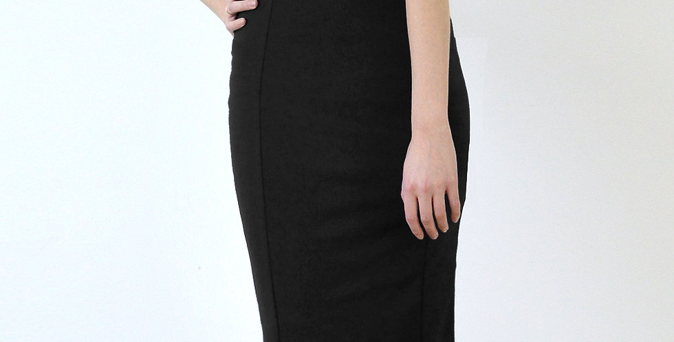 50s Style High Waisted Panelled Wiggle Skirt in Black front view