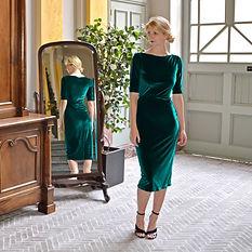 Green velvet cocktail dress