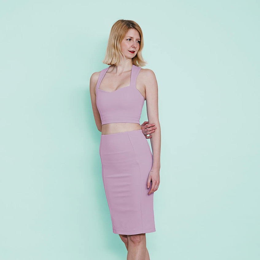 With sweetheart bralet and pencil skirt in pastel lilac