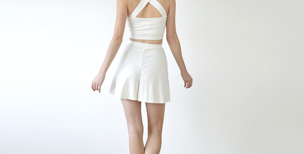 Bebe Vintage Style Strappy Crop Top and High Waist Shorts Set in White full back view