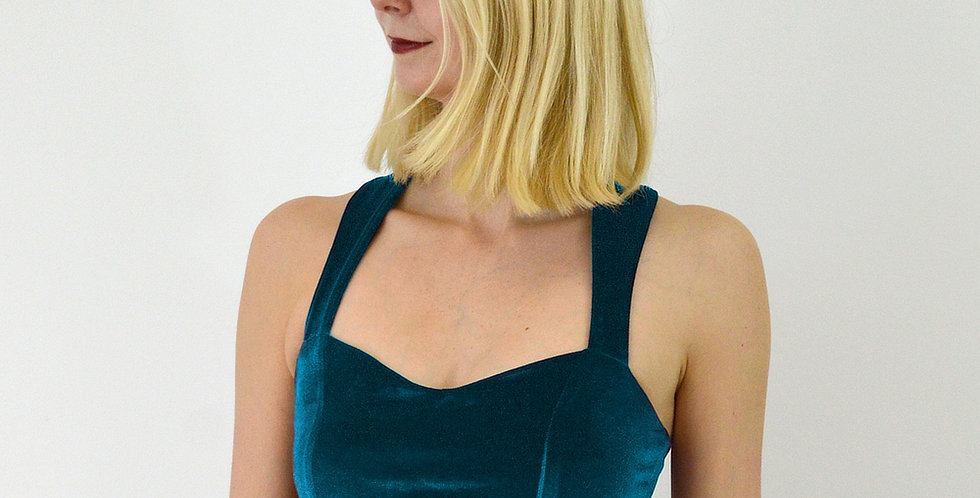 Fitted Velvet Crop Top in Teal Blue