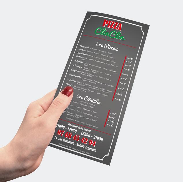 Flyer pour les Pizzas ClinC
