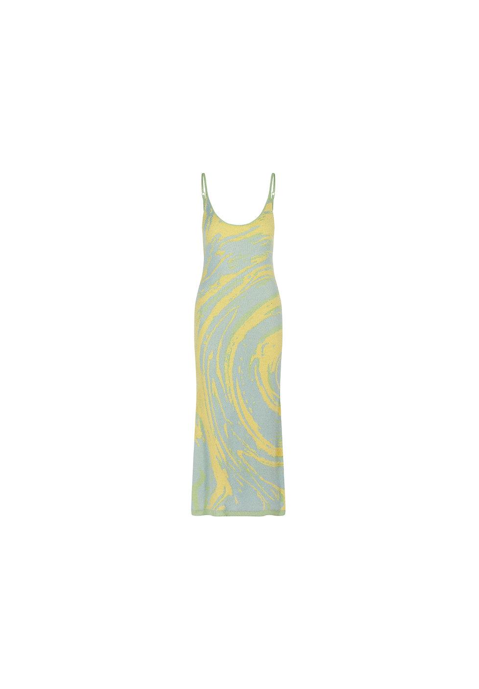 VOL18124 Long Knit Dress with Green Galaxy Print A.jpg