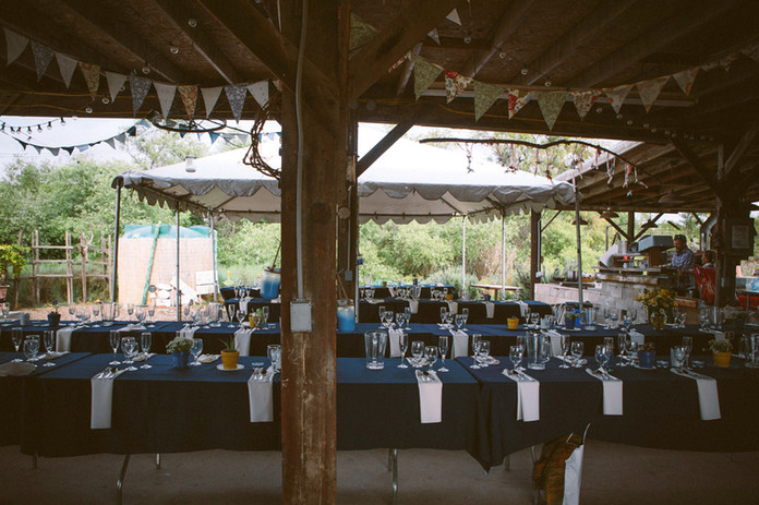 Banquet style setup in the barn