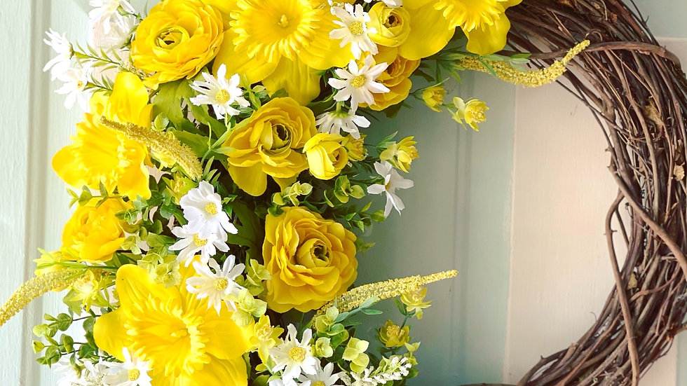 Yellow Spring Cheer Wreath-18 inch grapevine base