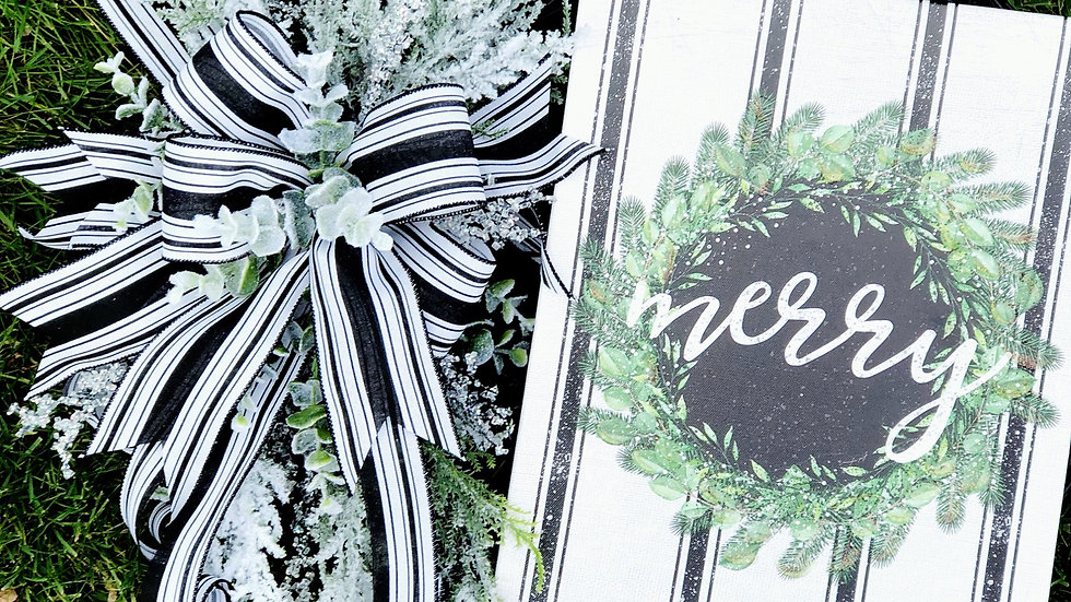 Merry black and white ticking wreath-18 inch grapevine base