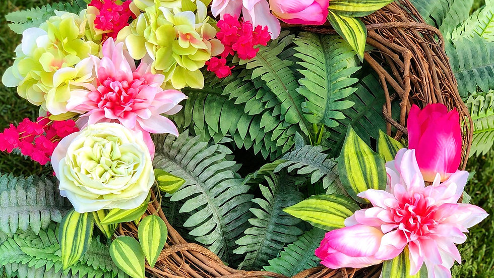 Pops of Pink Tropical Wreath-18 inch base