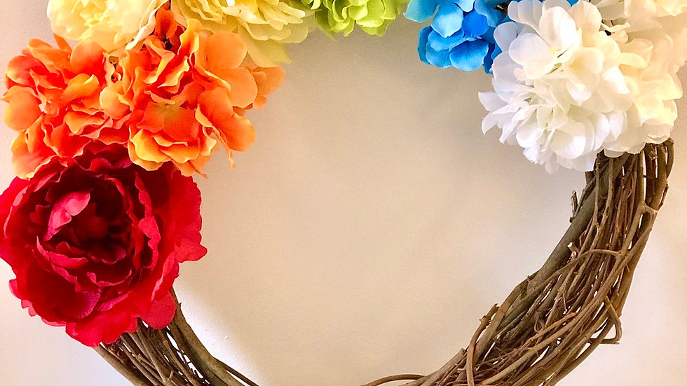 Rainbow Wreath With White Hydrangea Clouds-flowers will vary-18 inch base