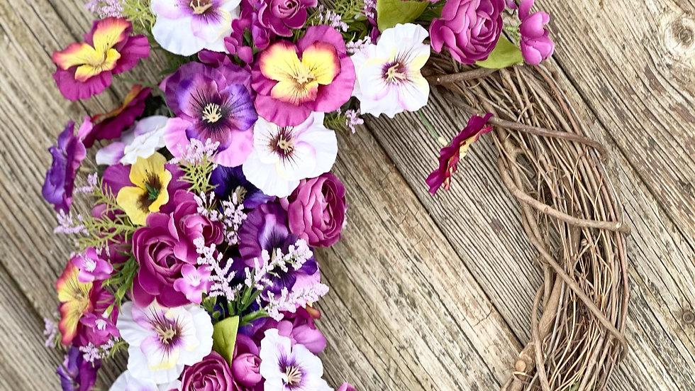 Purple Pansy Wreath-14 inch grapevine base