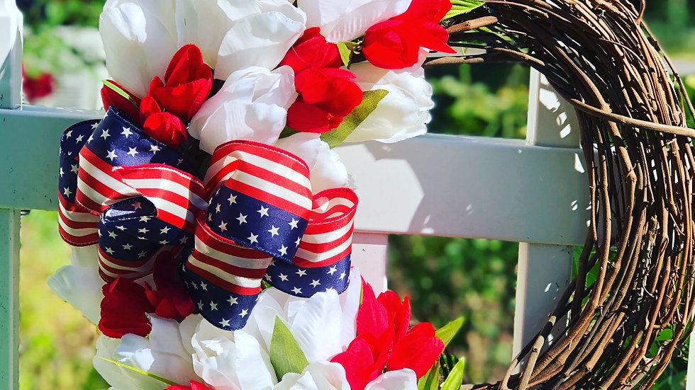 Patriotic Red and White Tulip Wreath-12 inch base