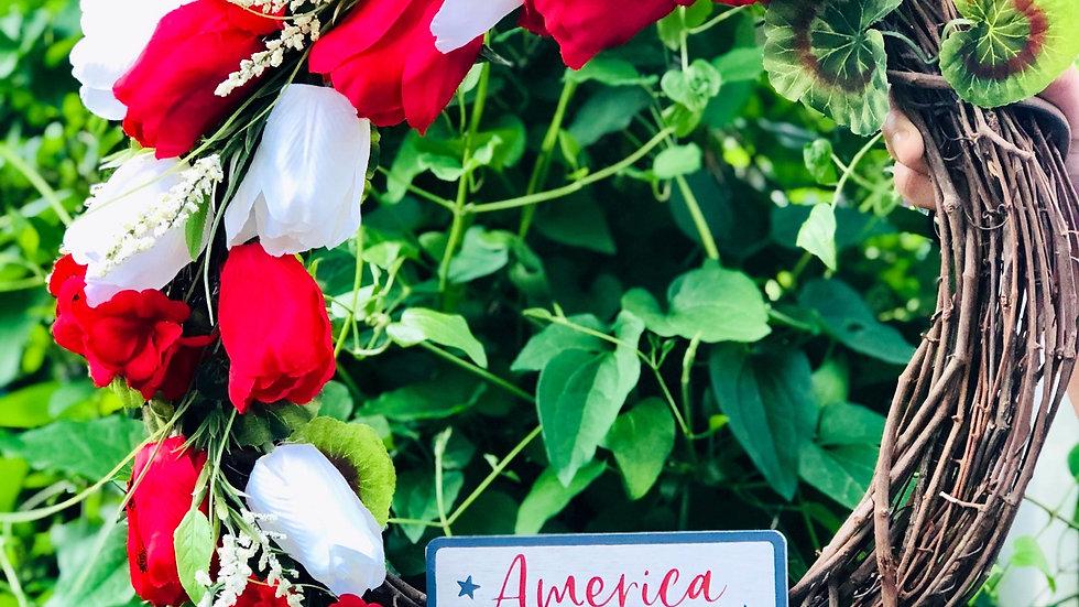 America the Beautiful Wreath-18 inch base