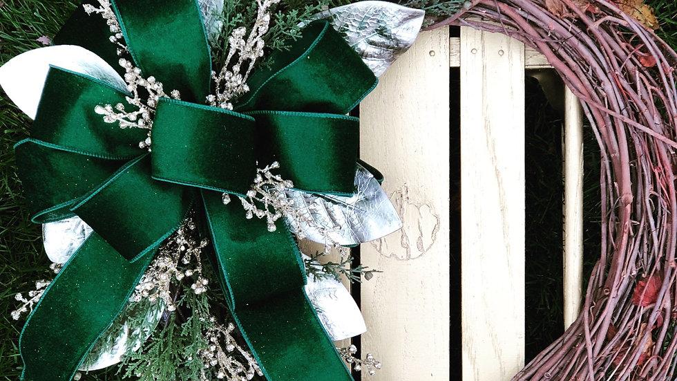 Velvet Splendor Wreath-18 inch grapevine base