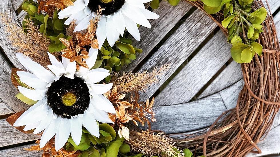 Golden Sunflower Wreath-14 inch base