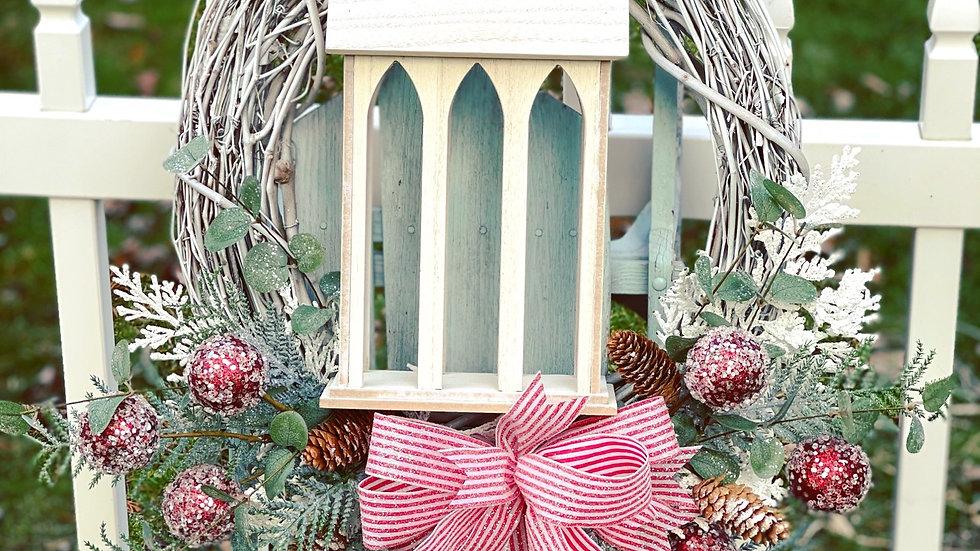 Holiday Church Wreath-18 inch grapevine base