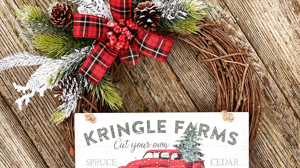 Kringle Farms Wreath-14 inch grapevine base