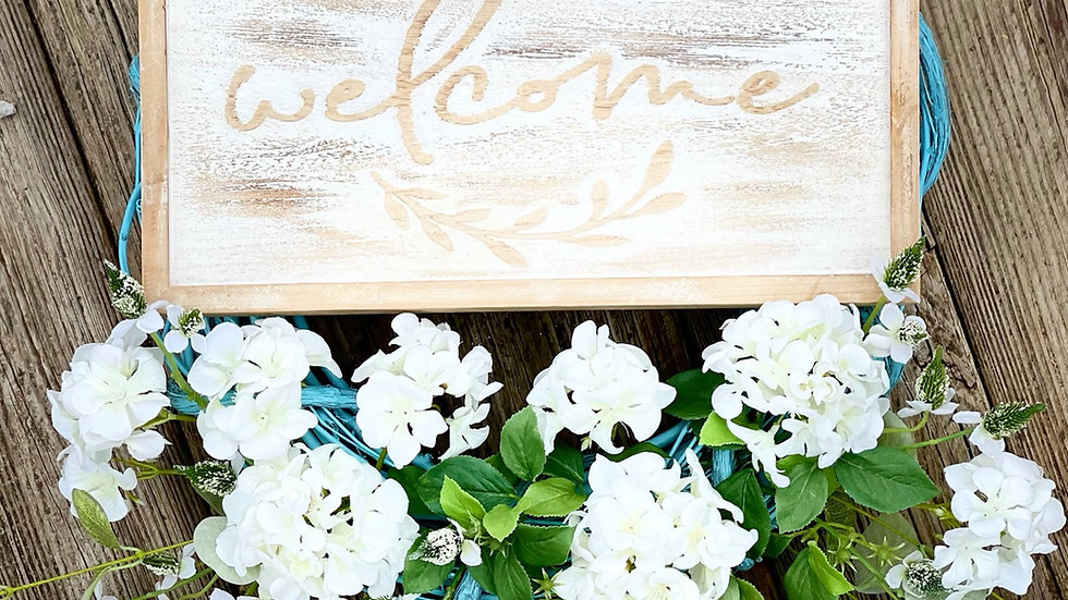 Neutral Welcome Wreath-18 inch grapevine base