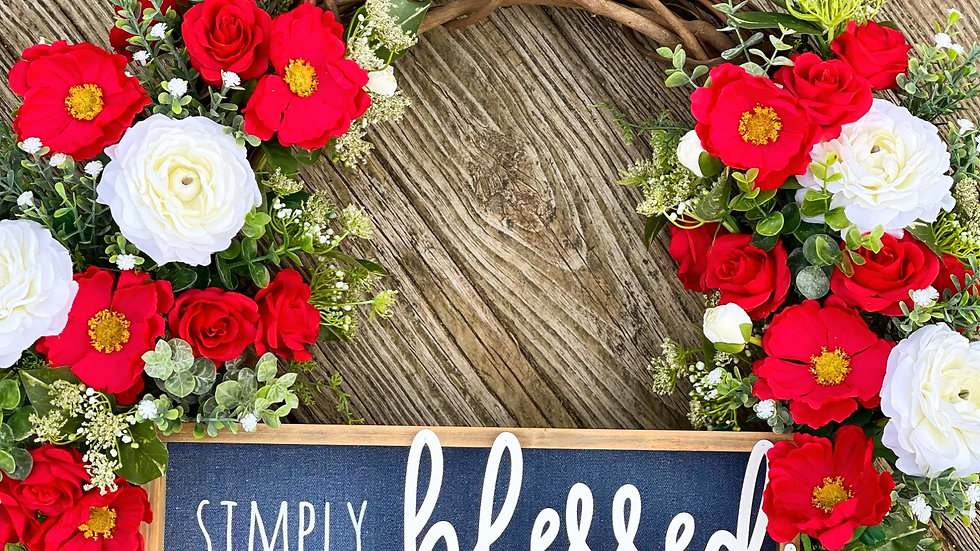 Simply Blessed Wreath-18 inch grapevine base