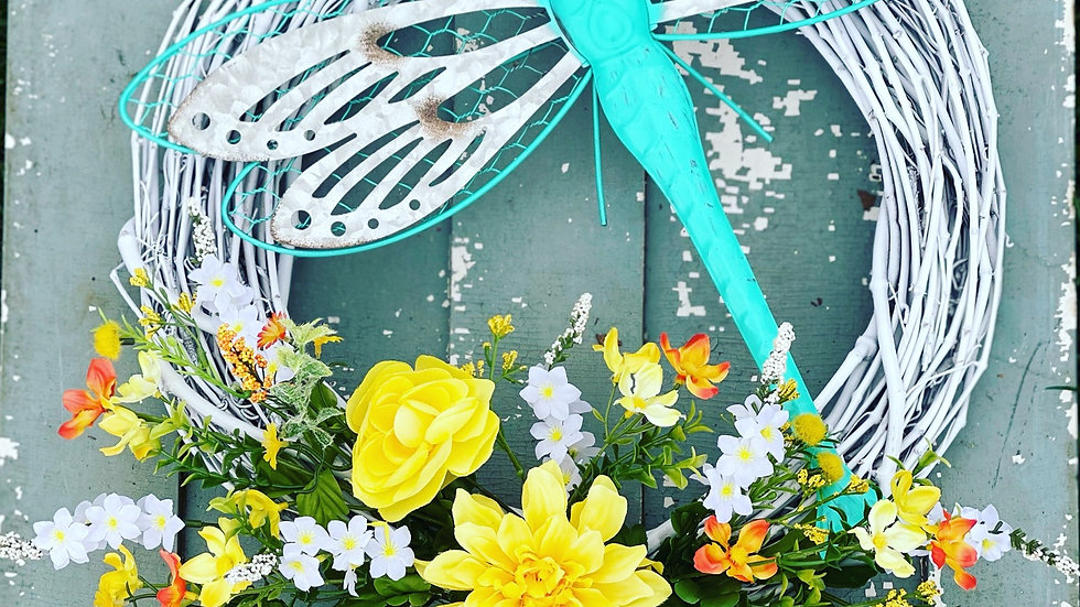 Dragon Fly Floral Wreath-18 inch grapevine