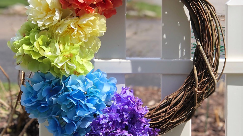 Rainbow Wreath-18 inch base (flowers will vary)