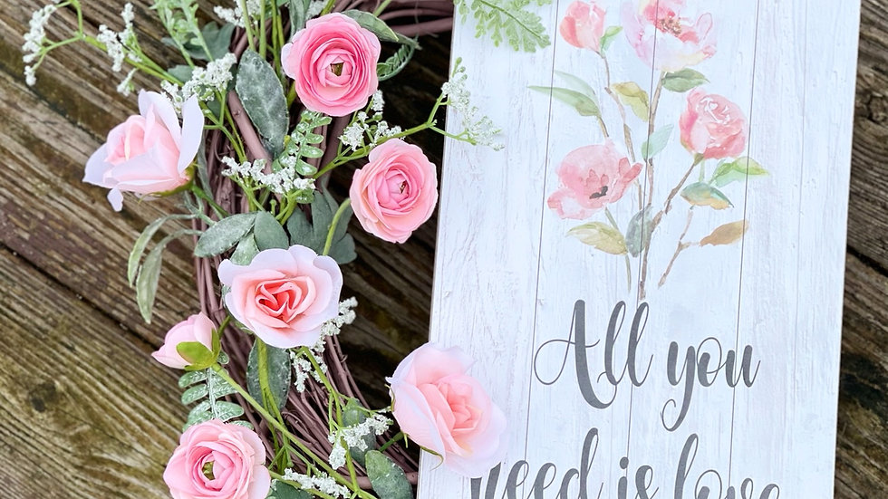 All You Need Is Love Wreath-14 inch base