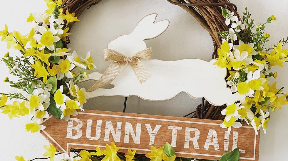 Bunny Trail Wreath-18 inch grapevine base
